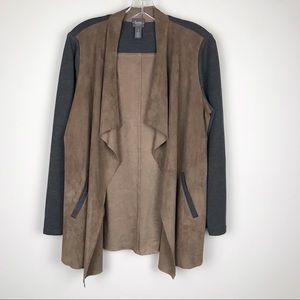 Chico's Travelers Waterfall Cardigan Suede Jacket